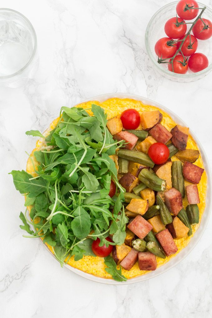 How to make an open-faced omelette - which is topped with roast okra, roast sweet potato and crispy fried spam. African Recipe, Omelette recipe, Sierra Leone Recipe