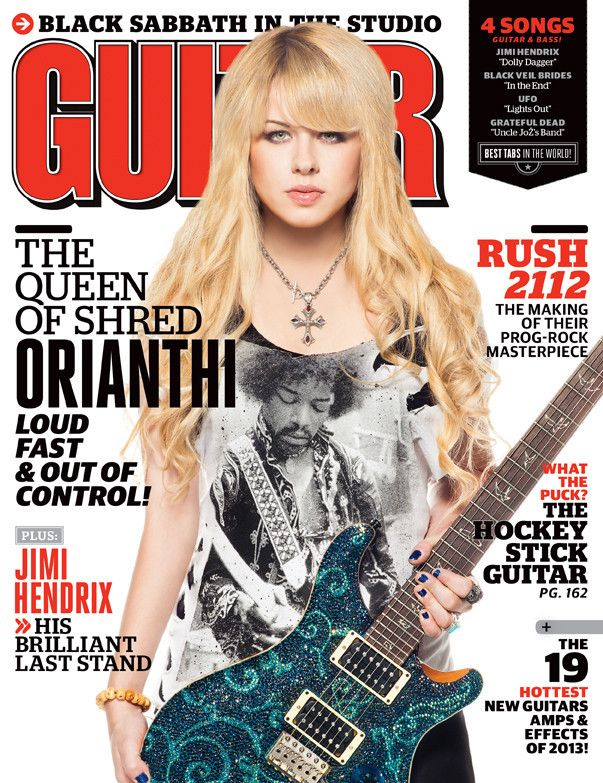 Orianthi on the cover of April 2013 Guitar World