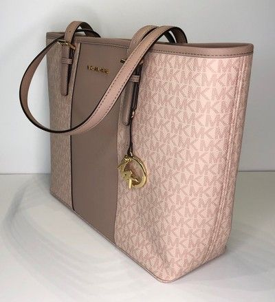 6c6cdb217c0e Michael Kors Jet Set Travel Md Carryall Tote Signature Mk Fawn/Ballet  Leather Shoulder Bag. Get one of the hottest styles of the season!