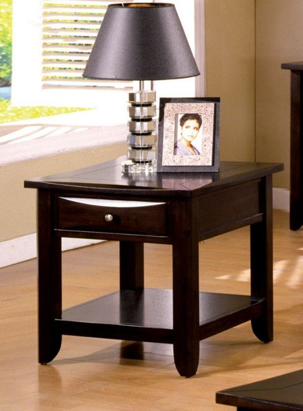 Cm4265dk E Baldwin Espresso Wood Finish End Table With Drawers For Extra Storage