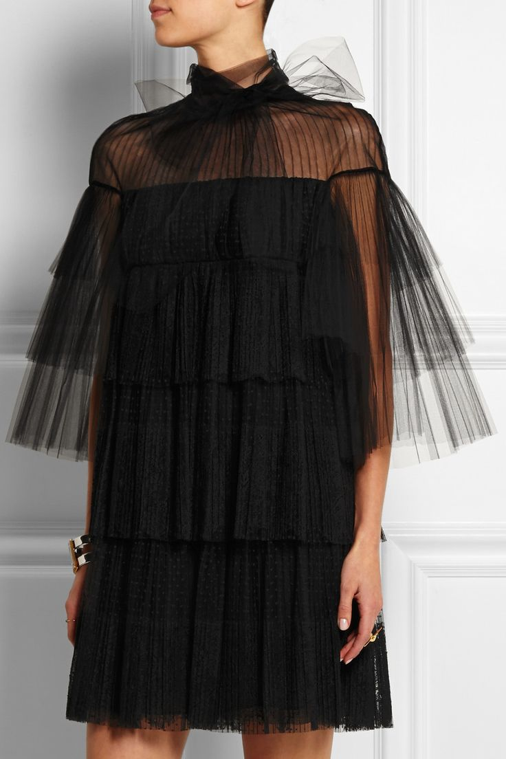 Valentino | Tiered point d'esprit, lace and tulle mini dress | NET-A-PORTER.COM