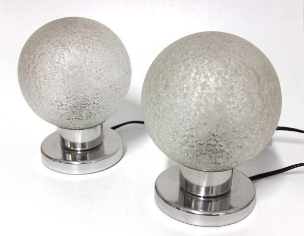 Great Details zu Paar Doria Nacht Tisch Lampen Leuchten er er Jahre Glas Kugel Vintage R