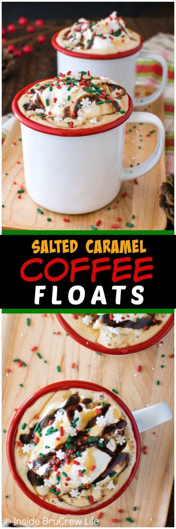 Salted Caramel Coffee Floats - coffee and gelato mixed together in a mug creates a delicious and easy coffee house drink. Great at home date night dessert recipe!