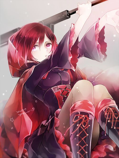 1girl cape pantyhose redhead ruby_rose rwby scythe short_hair solo yoshinori_(fmn)