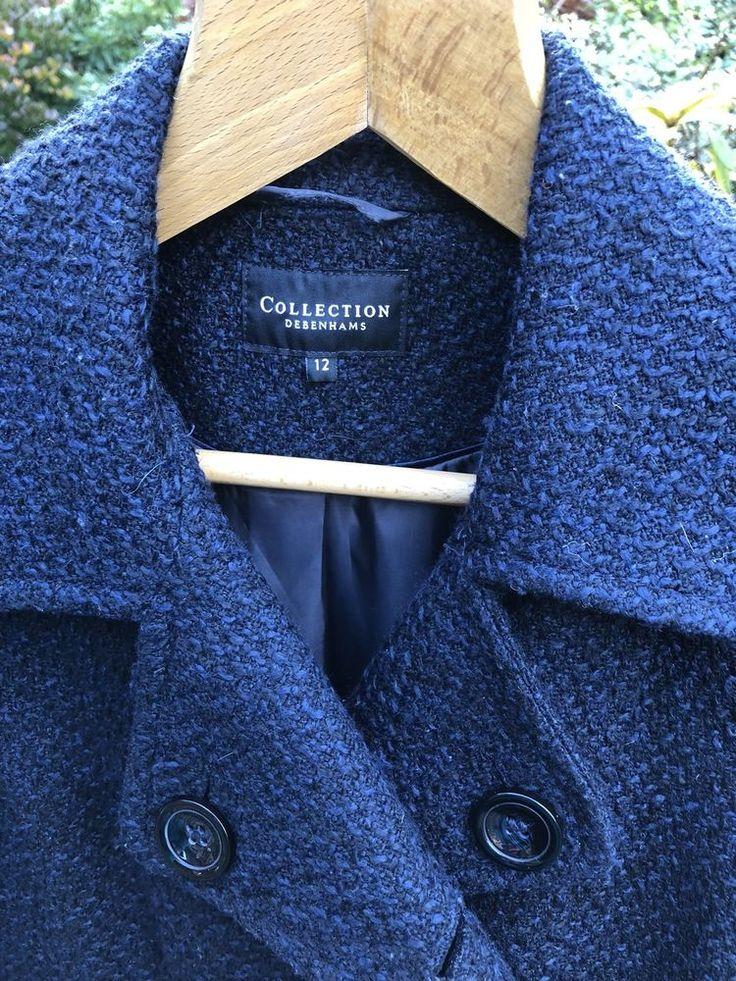 Debenhams Ladies Women's Navy Blue Short Waisted Cropped Jacket Size 12 Tweedy    eBay