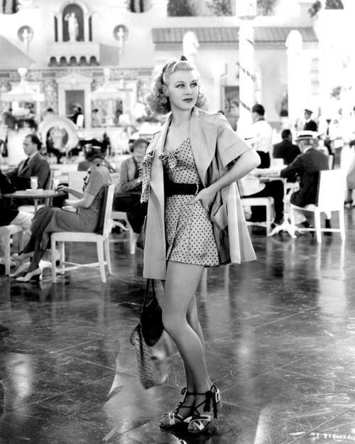 Ginger Rogers with an incredible summer playsuit and wedge sandals! Great outfit!