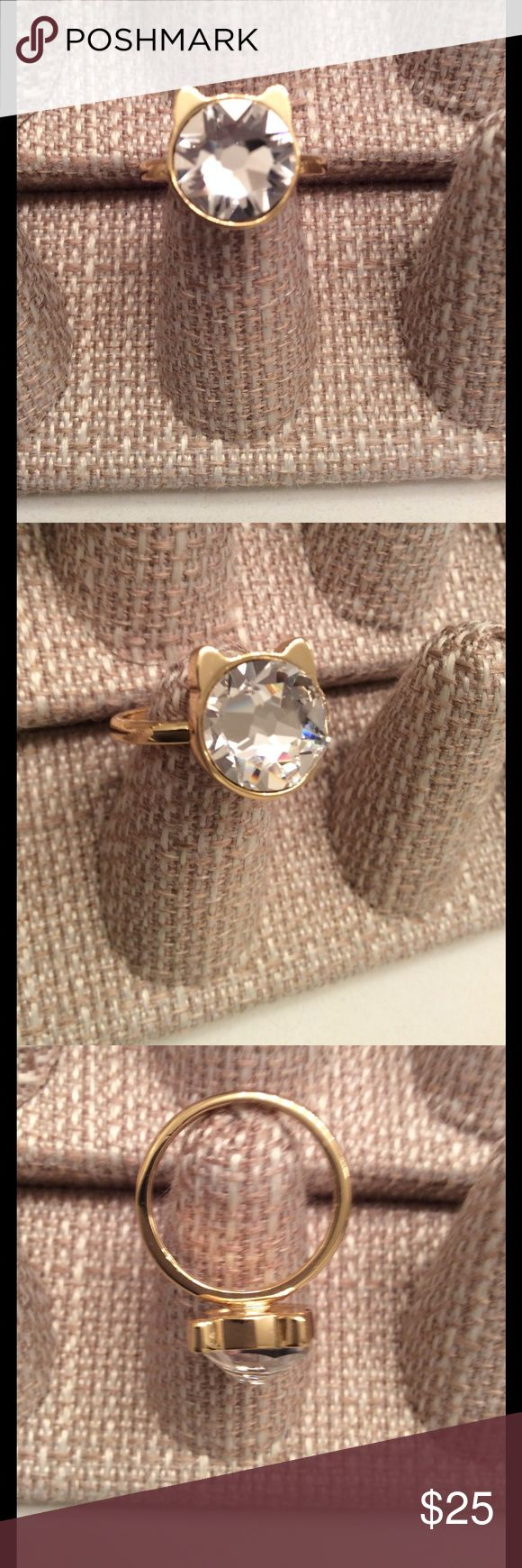 Puuurrfect,  Kitty Kat Golden Crystal Ring Puuurrrfect 14 k Gold Plated Crystal Ring, Too Cute to pass up. KEVET Jewelry Rings