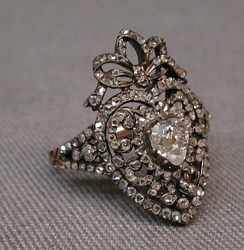 .: Antique Rings, Diamond Rings, Heart, Silver Diamonds, France 19Th, 19Th Century, Paris France, Diamonds Rings, Antiques Rings