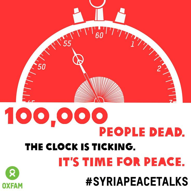 100,000 people dead. The clock is ticking. It's time for peace. Sign the petition calling for #SyriaPeaceTalks now: http://ow.ly/mfBtX. Still not convinced? Read how Syria's women are stuck in limbo: http://blogs.oxfam.org/en/blogs/13-07-22-syrias-women-sitting-limbo: Oxfam International, Charity Pin, 100 000, Oxfam En