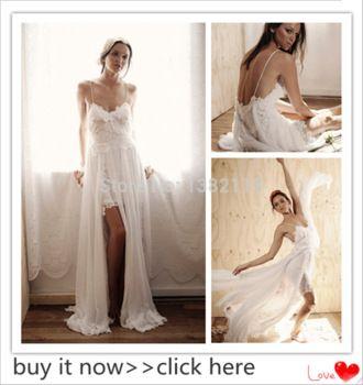 eenvoudige bohemain chiffon strand trouwjurken ivoor kant spaghetti jurk bruid kant split boho trouwjurk Vestidos de Novia 2014