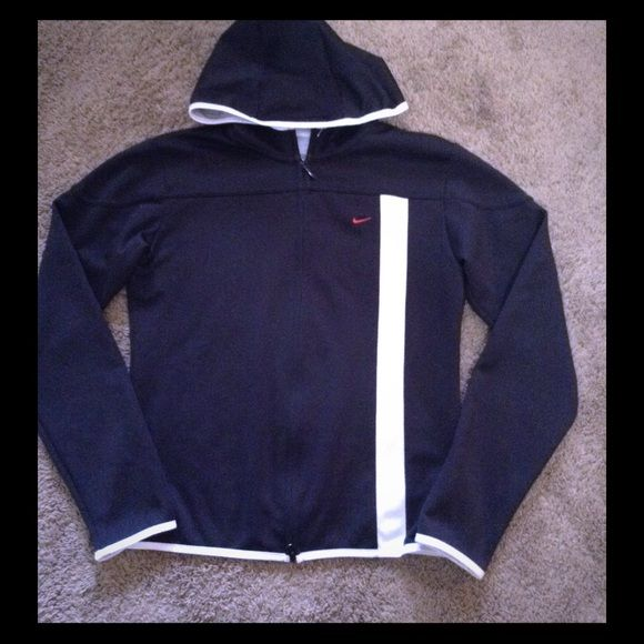 Nike black and white women's zip up Like new! No flaws or tears! Worn maybe once Nike Tops Sweatshirts & Hoodies