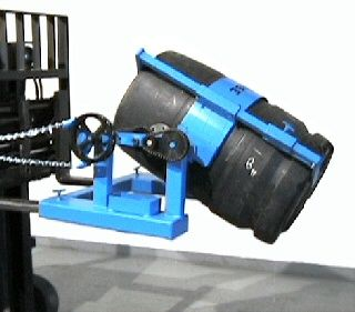 Fork Mounted Poly/Steel Drum Handler, Accepts Diameter Adapters has a bracket on the drum holder with an L-shaped foot to support drum from bottom and an adjustable hold-down to trap the drum from the top. Pull-chain loop allows drum tilt control from the driver's seat of your fork truck with 20' chain loop (10' drop).