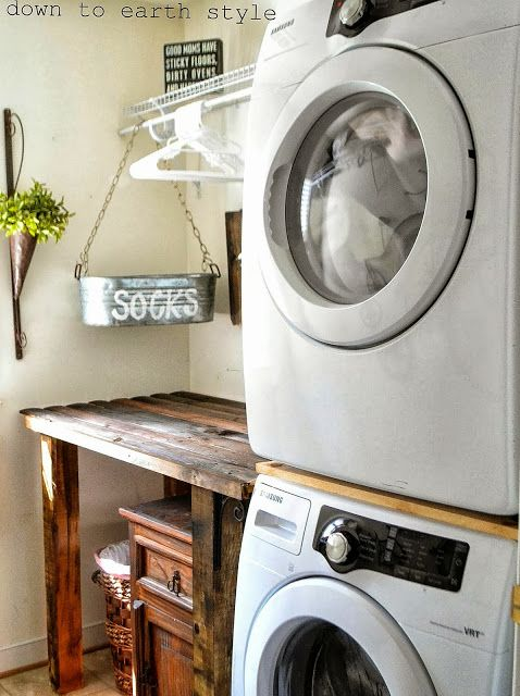 Reclaimed wood laundry room folding table