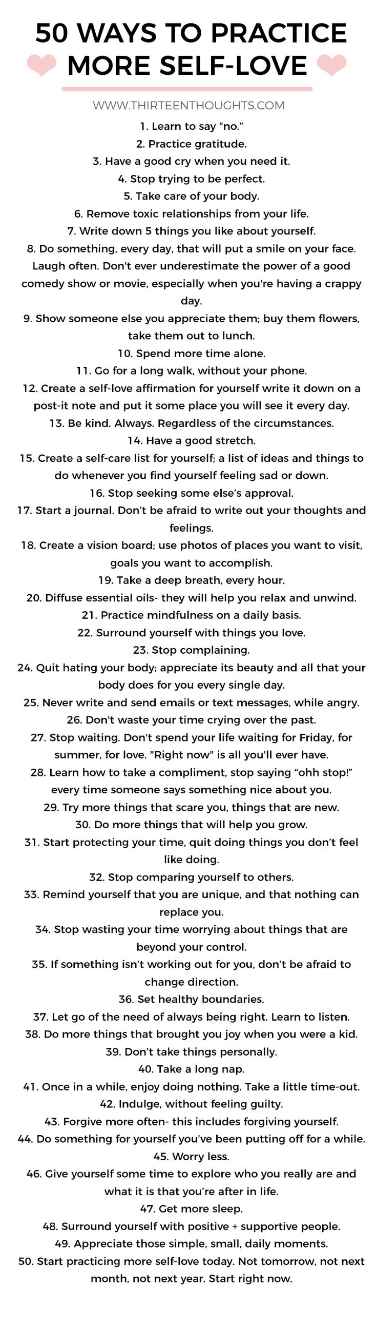 #love #selflove #selfcare #wellness #selfgrwoth #lifestyle #selfloveideas #girltalk Ways to practice self-love.  via @Paula13t