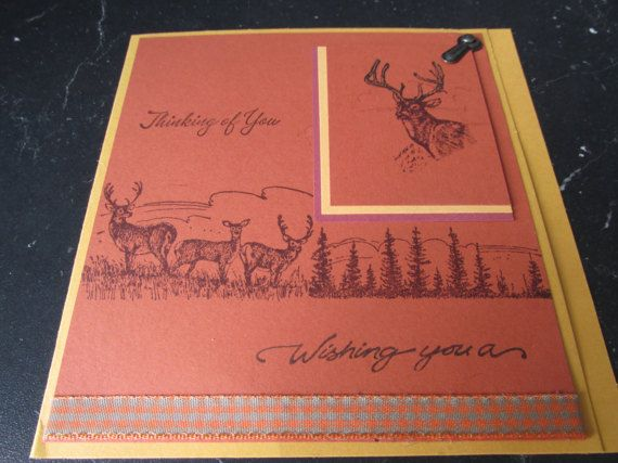 A perfect keepsake for that very special relative, friend, or lover. One-of-a-kind.......Deer Happy Birthday Card  DESCRIPTION: This 5 1/2 X 6 Thinking of you, Wishing you a Happy Birthday. Hand stamped deer in the woods. Portrait of buck in upper corner.  CARD INSIDE: Sentiment: Happy Birthday, with antlers and buck. QUALITY: I create and design each card using the very best quality materials (paper 110 lb) and 3D embellishments. In some cases I use the computer to help create the look ...