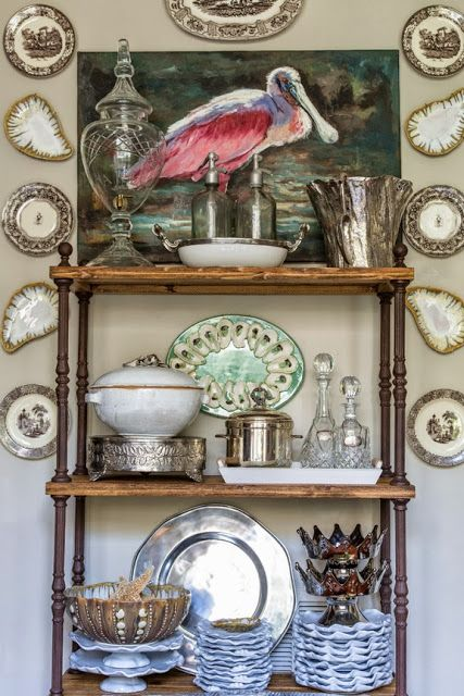 Great use of an etagere in the dining rom. Love the oyster plates. (Photos by Sara Essex Bradley ~ From House Proud: Unique Home Design/Louisiana by Valorie Hart)