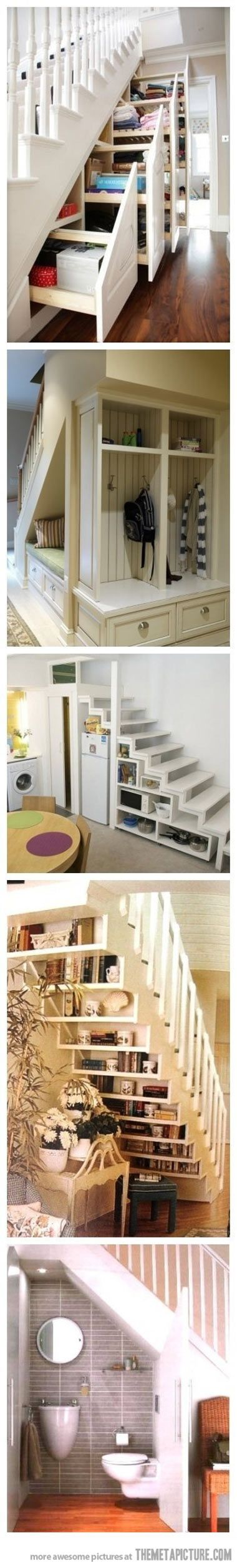 Brilliant ideas for under the stairs... - The Meta Picture. Fabulous storage ideas, great way to use up dead space under the stairs!