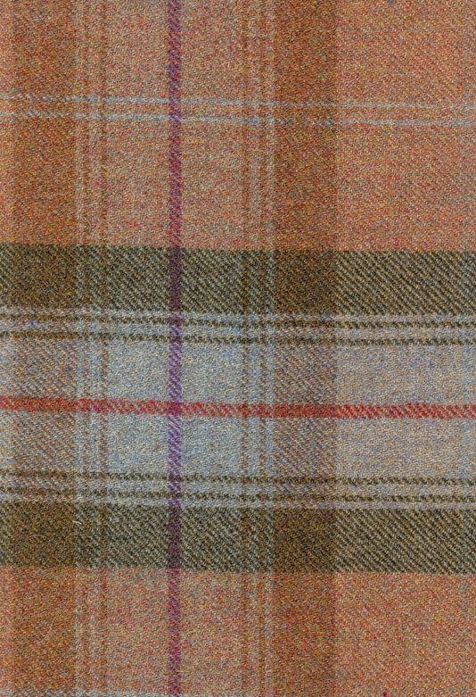 Calder Check Wool Fabric Wool tartan fabric in autumn colours of burnt orange, aqua and peat.
