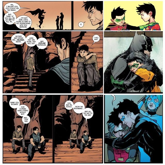 Robin. Damian Wayne. Superboy. Jonathan Kent. Batman. Bruce Wayne. Nightwing. Dick Grayson.