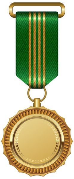 Gold Medal with Green Ribbon PNG Clipart Image