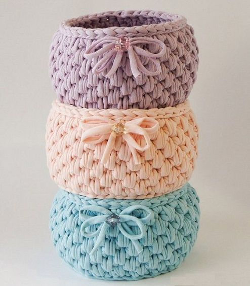 Cestos de crochê em fio de malha - DIY - Faça você mesmo
