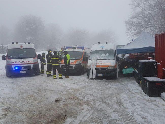 Tragedia Hotel Rigopiano Misericordia Pescara mobilitata da tre giorni  con 30 volontari