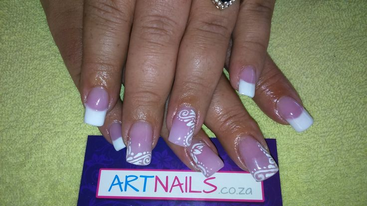 French acrylic wedding nails I did with hand painted nail art