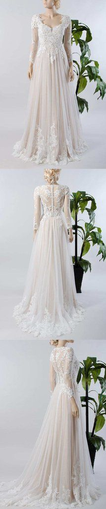 V-Neck Illusion Long Sleeve Lace Appliqued Tulle A-Line Pleated Wedding Dress-714967