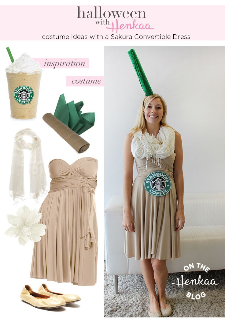 Need Halloween Costume Inspiration? Dress up as a Starbucks Frappuccino! There are infinite ways to rewear your Sakura Convertible Dress! #henkaaween