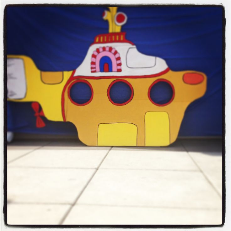 This is our yellow submarine photo booth for a great Beatles party!