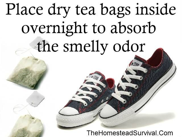 The easiest way to get rid of smelly shoes: place dry tea bags inside them overnight to absorb the odor.  The Homestead Survival