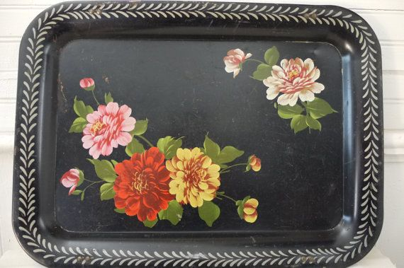 Vintage Metal Tray Vintage Black TV Tray w/Hand Painted Floral Motifs Shabby Chic Vintage Industrial