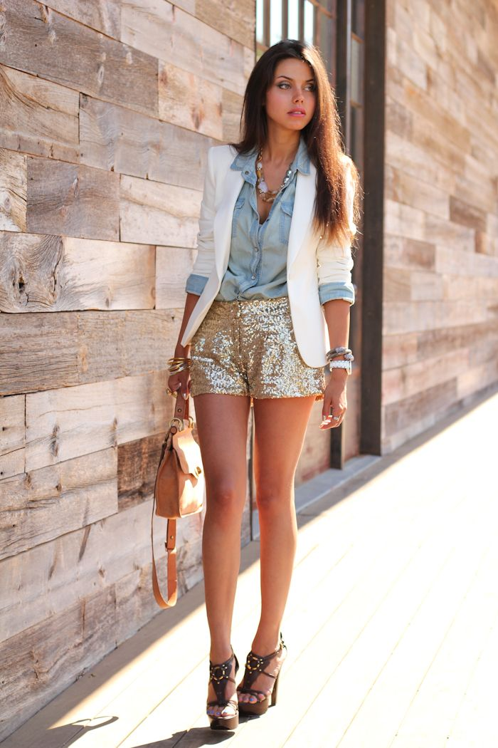 gold sequin shorts + chambray shirt + white blazer