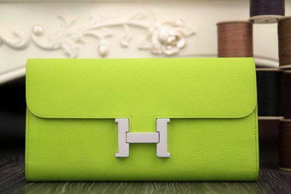 Hermes Constance Long Wallets Original Leather HA909 Light Green