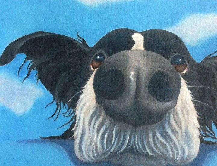 """""""Jelly Bean"""" the border collie dog painting"""
