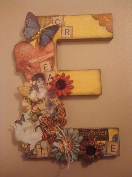 Chipboard Letters Ideas ~ Altered chipboard letter made by shopgirlaudi from