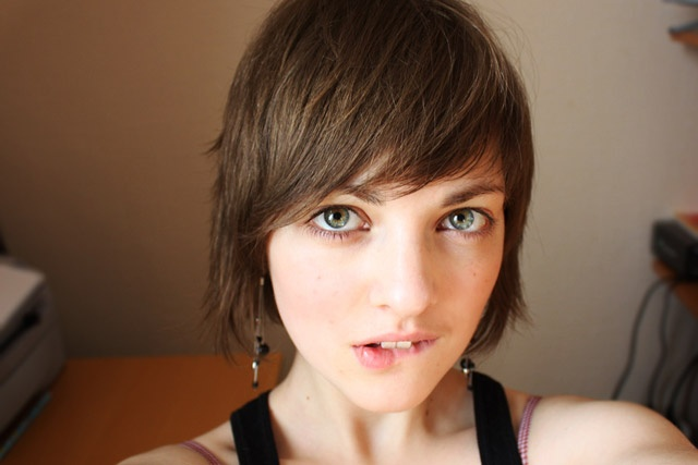 .: Cute Girls, Short Hair, Face, Lip Bite, Beautiful, Beauty, Photo, Women, Eye