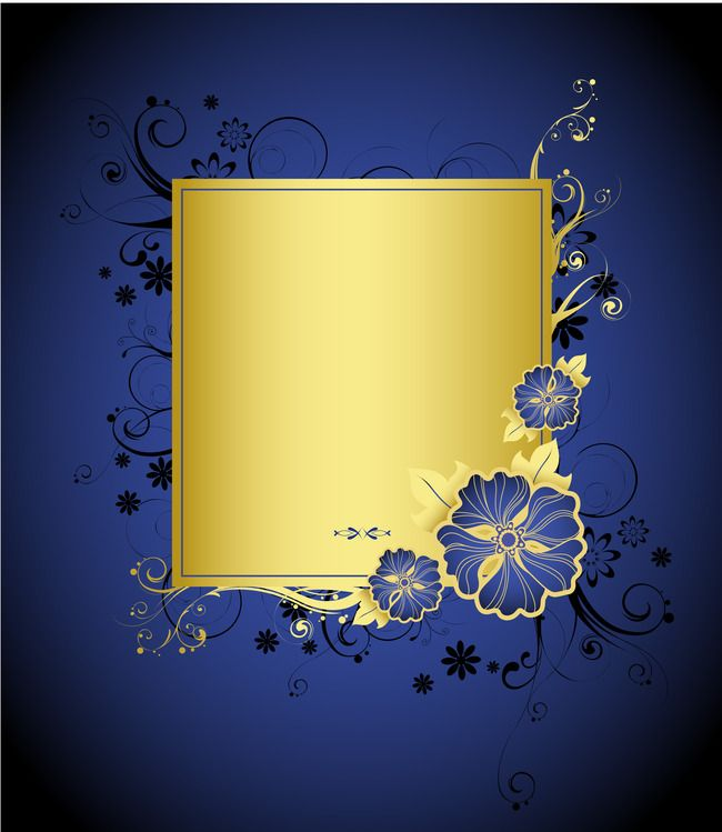 Hand Painted Blue And Gold Flowers On Blue Background Card Creative