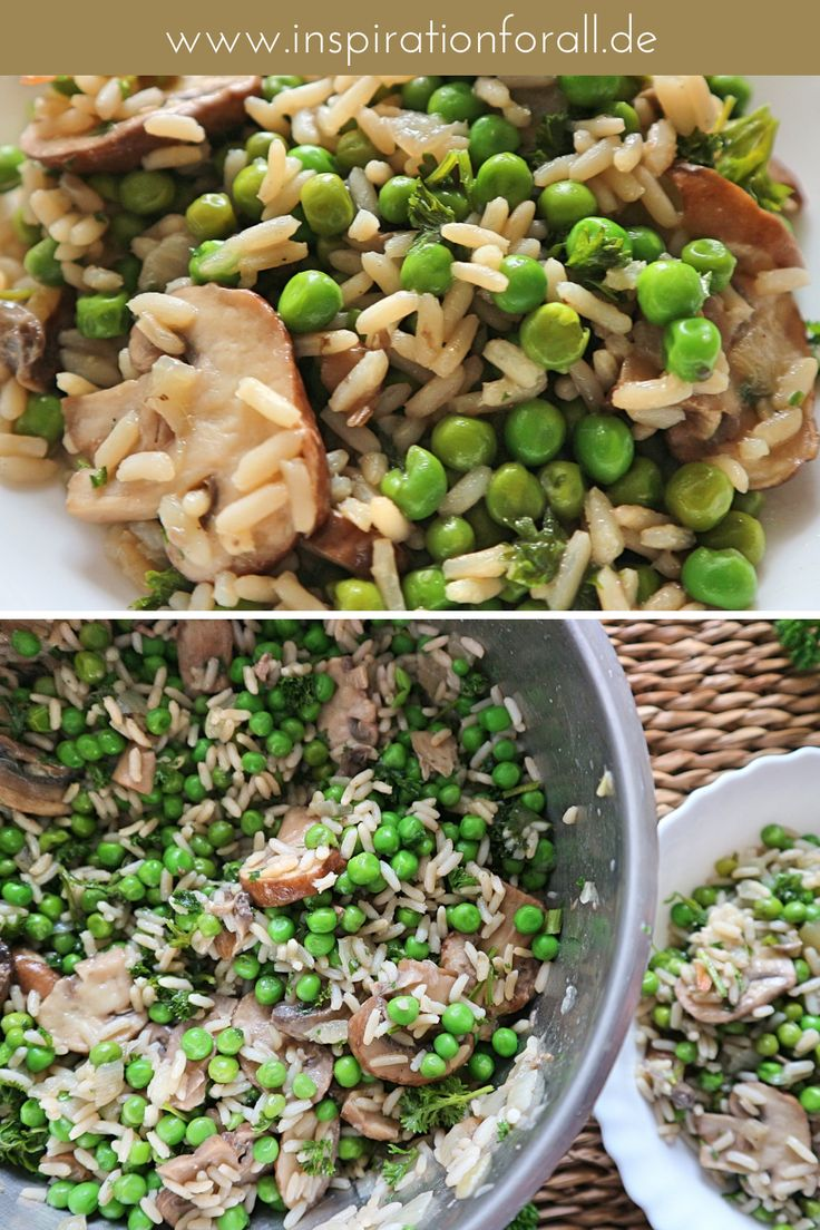 Reis mit Champignons & grünen Erbsen – einfaches & leckeres Rezept