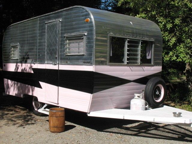 1960 Vintage Kenskill Travel Trailer Pink Black And Chrome Canned Ham Trailers For SaleVintage