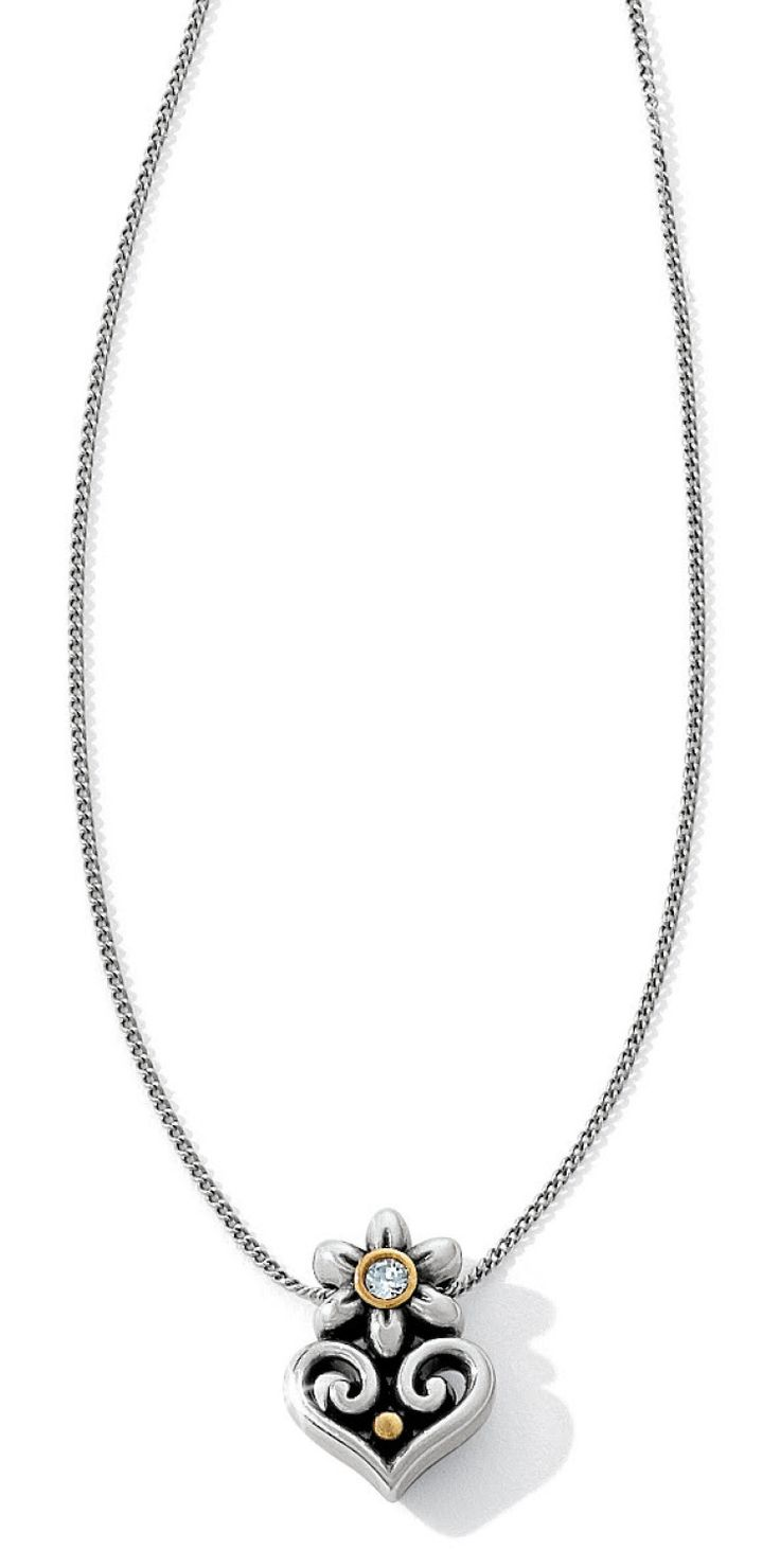 The Alcazar Flor Heart Necklace Features A Single Pendant Embellished With  A Swarovski Crystal