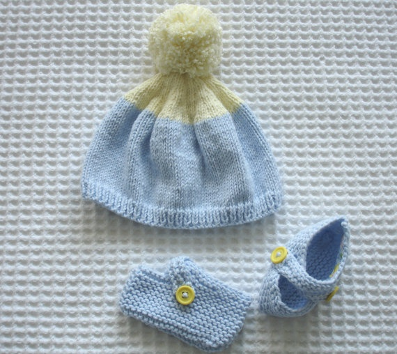 blue baby hat and shoe set by Hipolita on Etsy, $19.00