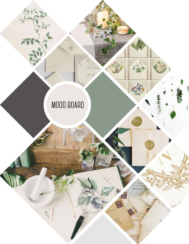 Mood board for The Westminster Synagogue Soirée - sage, grey and white colours with botanical elements