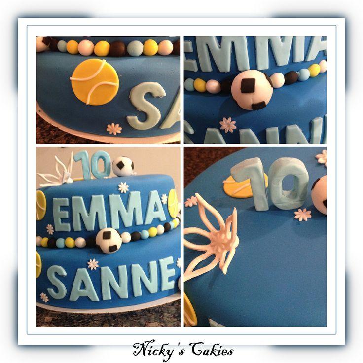 Tweelingtaart in thema van voetbal en tennis #tweeling #twins #voetbal #tennise #soccer #taart #cake