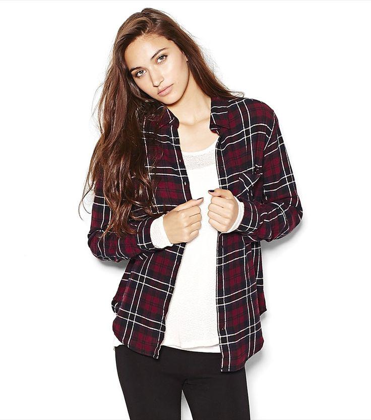 Black/Burgundy Boyfriend Flannel Shirt.