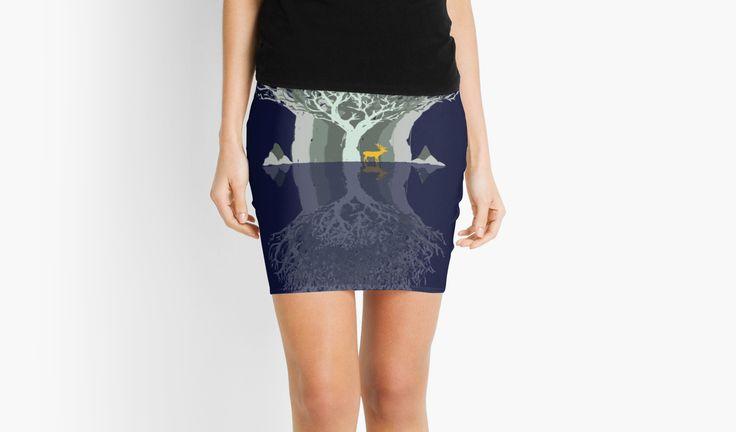 Frozen Reflection - Evening by jollybirddesign #frozen #reflection #blue #tree #stag #illustration #hipster #skirt