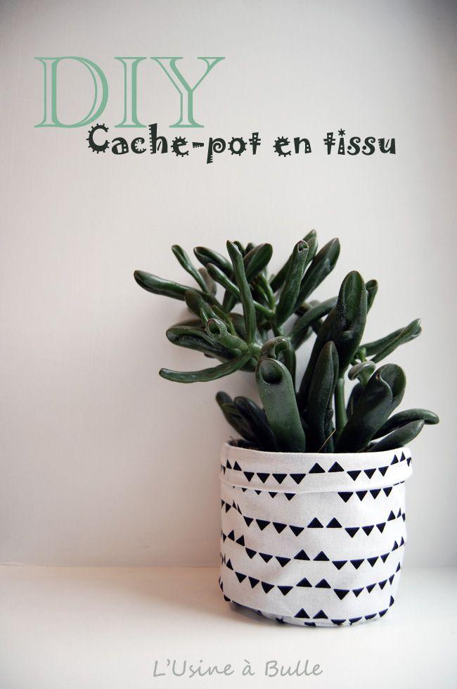Cache-pot très facile à réaliser pour personnaliser vos plantes d'intérieur et utiliser vos jolis tissus à motifs. Bonne couture !