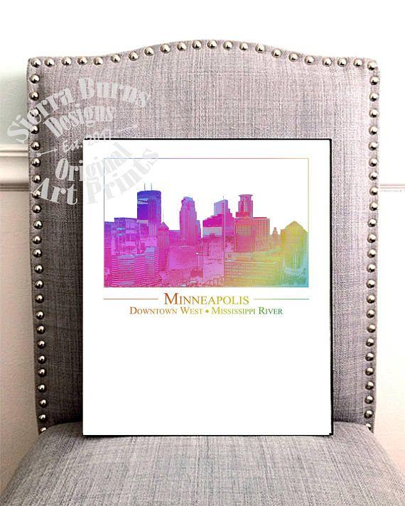 Minneapolis Art, Minneapolis Skyline Wall Art, Minneapolis Wall Art ...