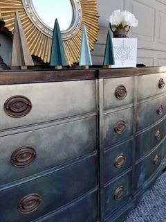 This Is Dixie Belle Paint Company Patina Paint In Bronze And Copper With  Blue And Green Patina Spray Fading Into Burlap And Pearlescent Glaze.
