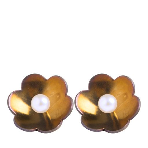 Un Fiore per Te Pearl and Gold Earrings - Shop Earrings from Italy's Best Artisans: fine jewelry handcrafted in Italy - Fine Jewelry from Italy's Best Artisans - Artemest
